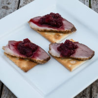Smoked duck with beetroot and orange chutney