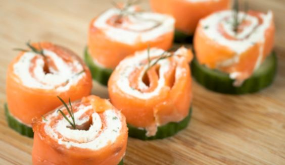 Smoked salmon and wasabi rolls