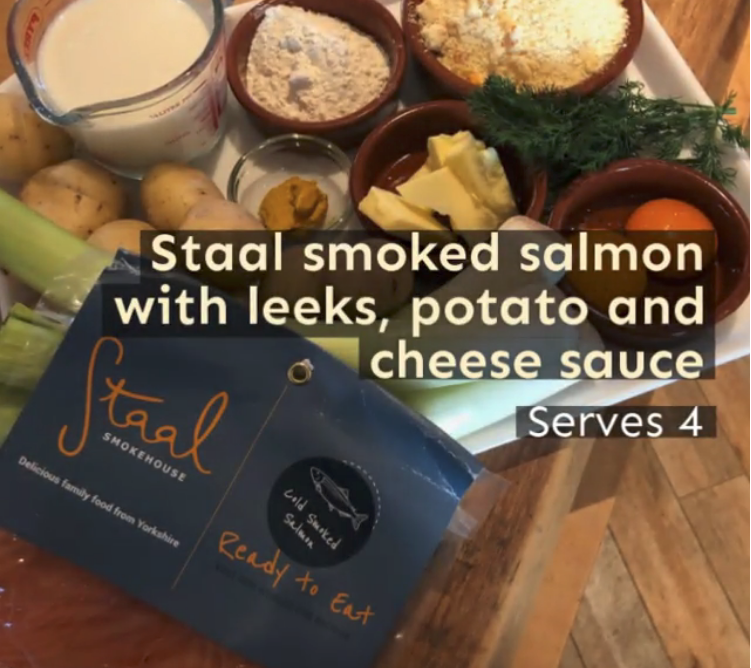 Staal smoked salmon with leeks, potato and cheese sauce