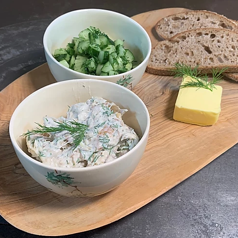 Smoked mackerel pate with sweet and sour cucumber