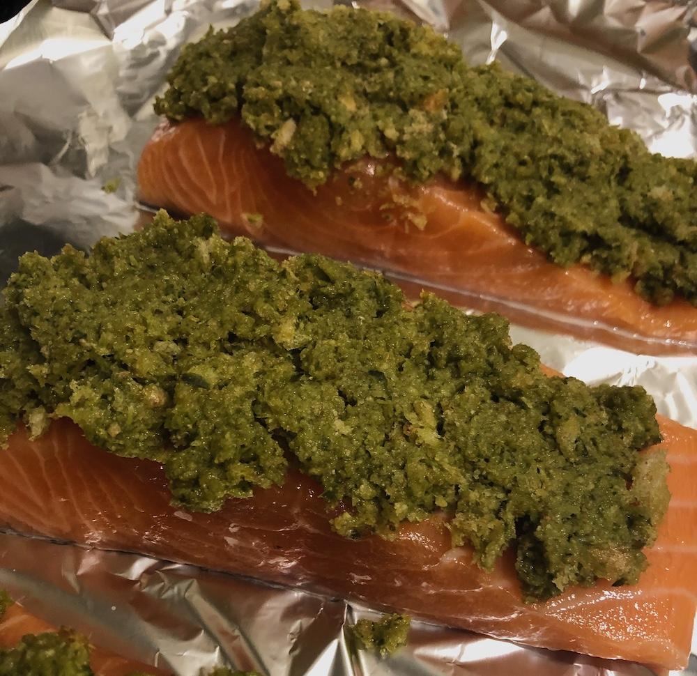 Staal Smokehouse salmon with pesto crust