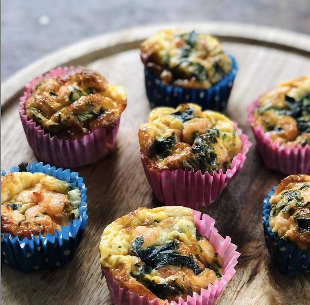 Dizzle Sky smoked salmon and spinach muffins