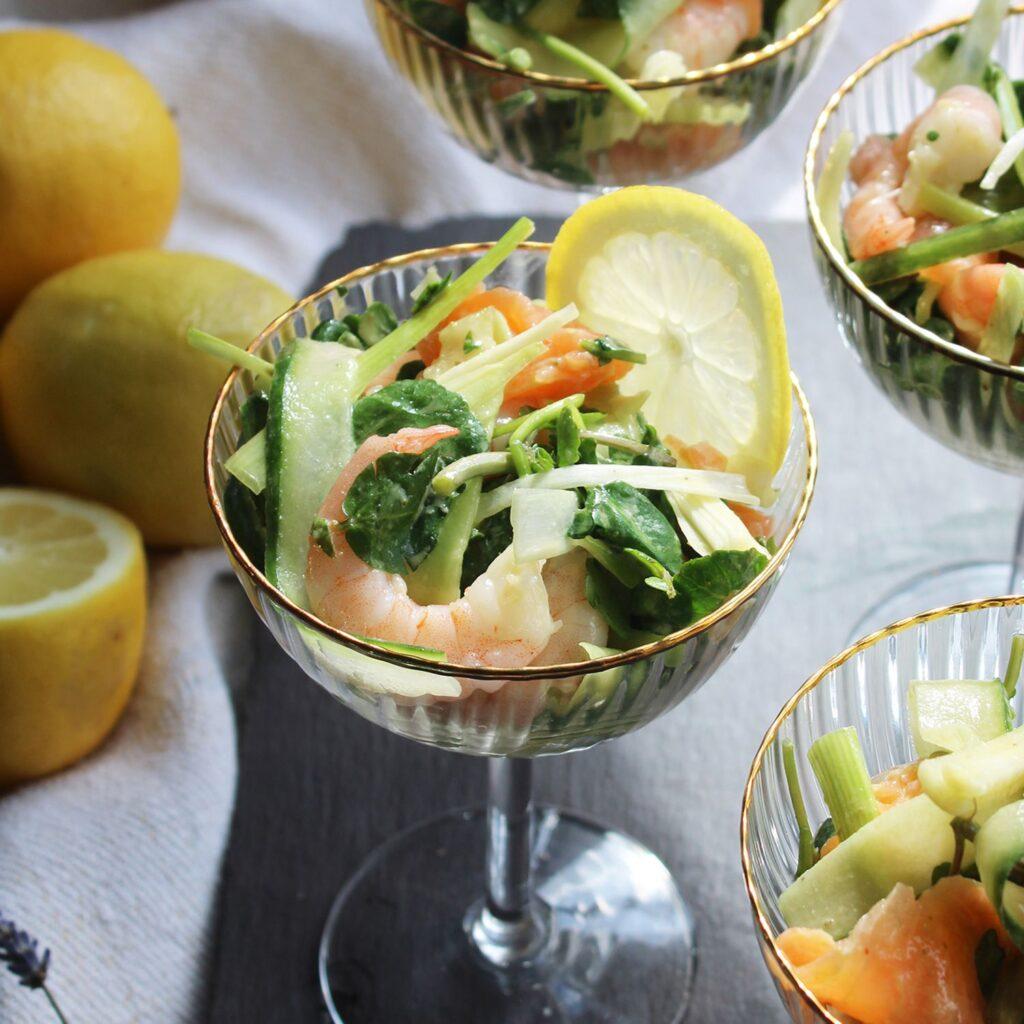 Lemony King Prawn and Smoked Salmon Salad recipe