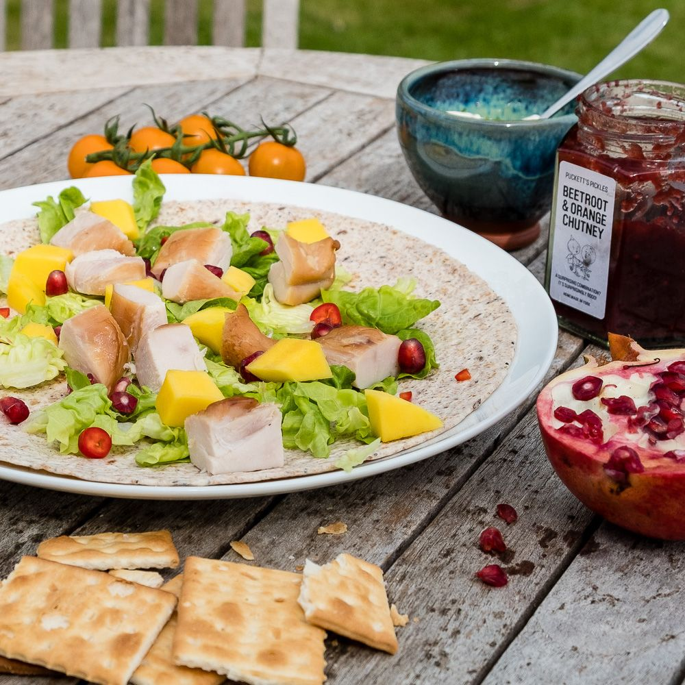 Smoked chicken wraps with mango and pomegranate